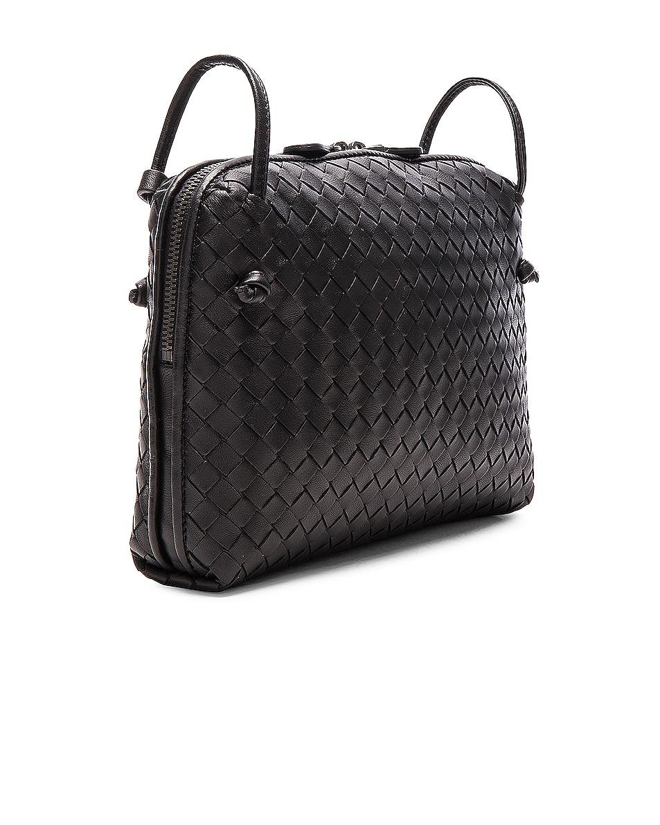 Image 4 of Bottega Veneta Woven Leather Shoulder Bag in Nero