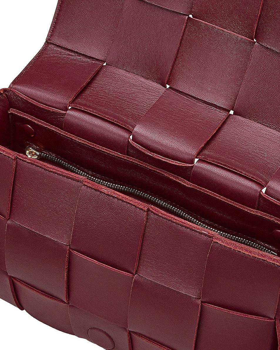 Image 4 of Bottega Veneta Small Woven Cassette Bag in Bordeaux & Gold
