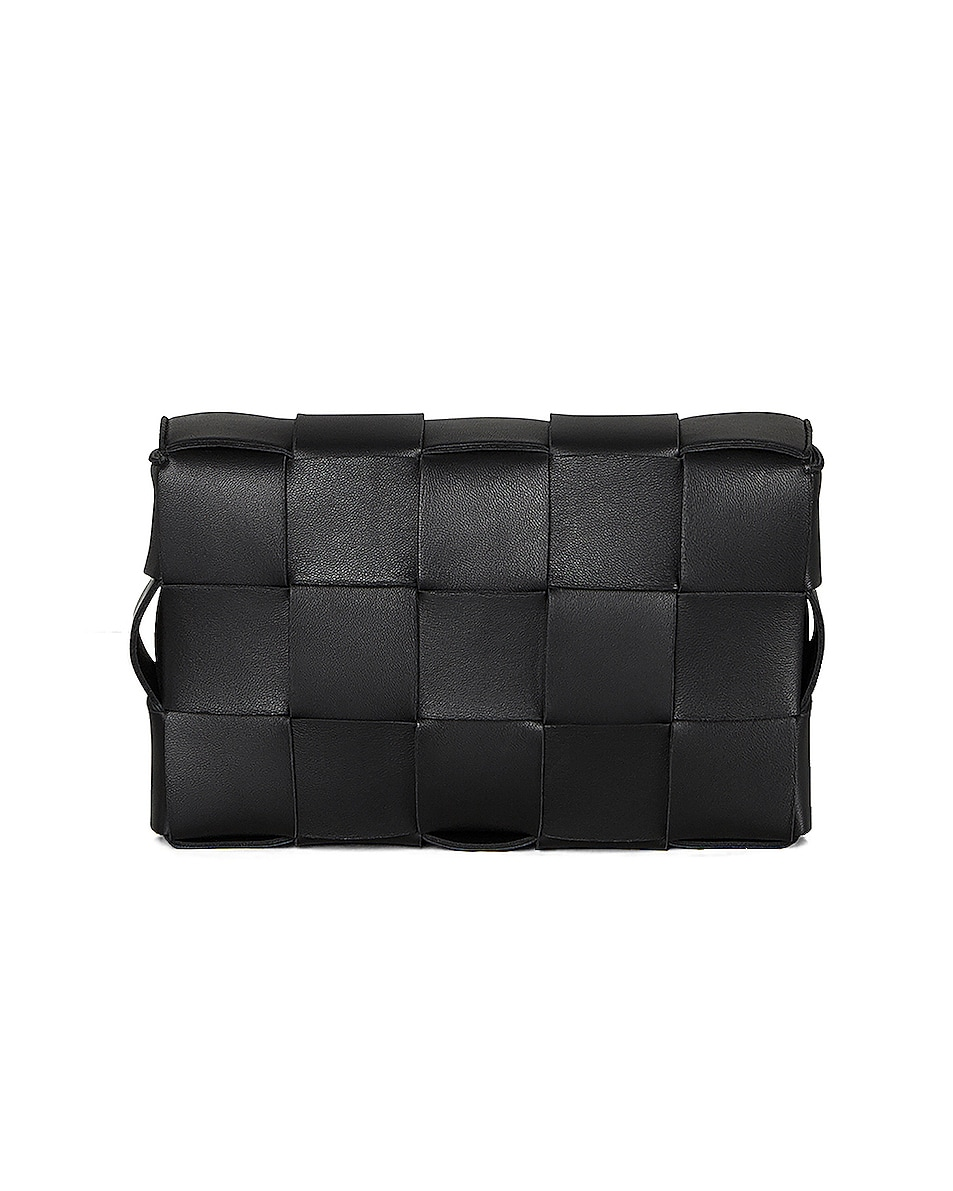 Image 3 of Bottega Veneta Small Woven Cassette Bag in Black & Silver