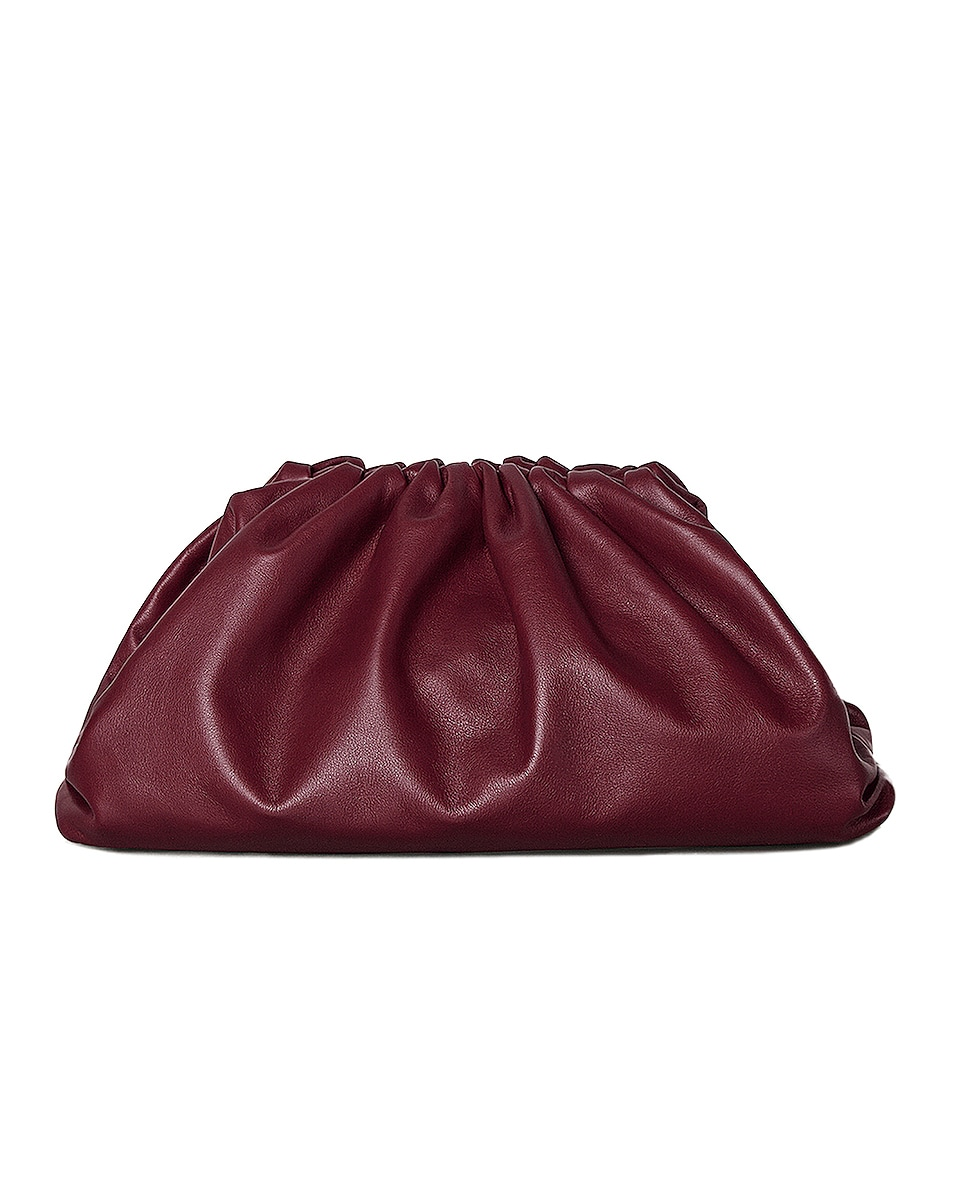 Image 1 of Bottega Veneta The Pouch Clutch in Bordeaux & Gold