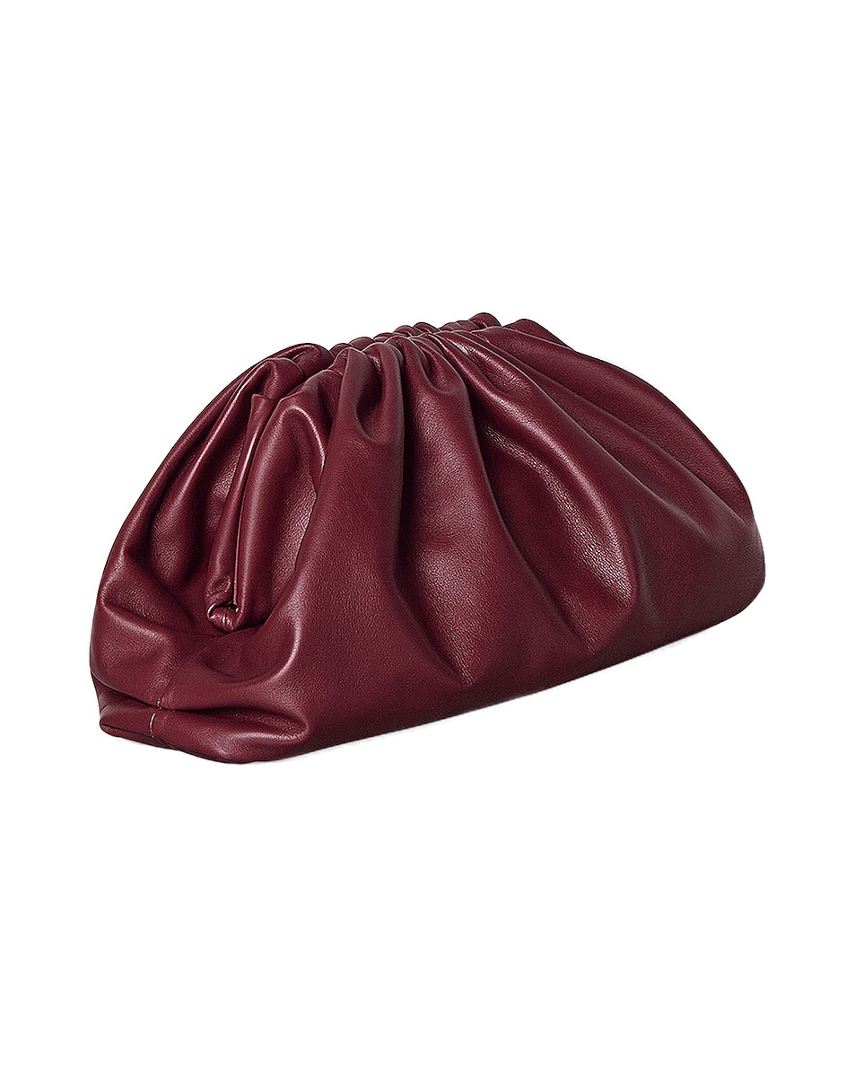 Image 2 of Bottega Veneta The Pouch Clutch in Bordeaux & Gold