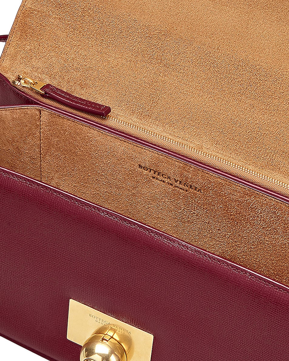 Image 4 of Bottega Veneta Leather Classic Bag in Bordeaux & Gold