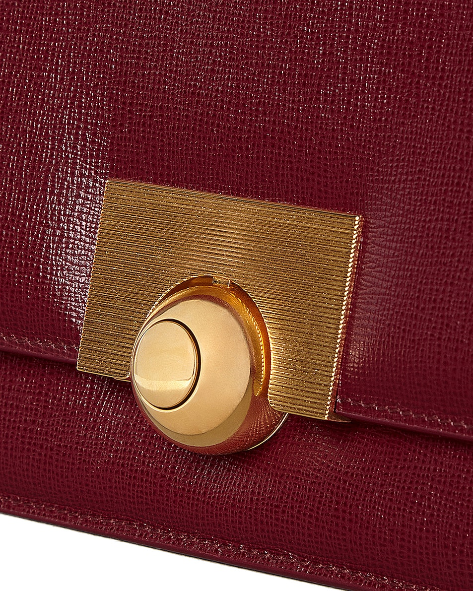 Image 5 of Bottega Veneta Leather Classic Bag in Bordeaux & Gold