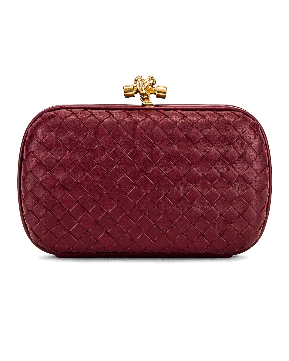 Image 1 of Bottega Veneta Woven Leather Crossbody Bag in Bordeaux & Gold