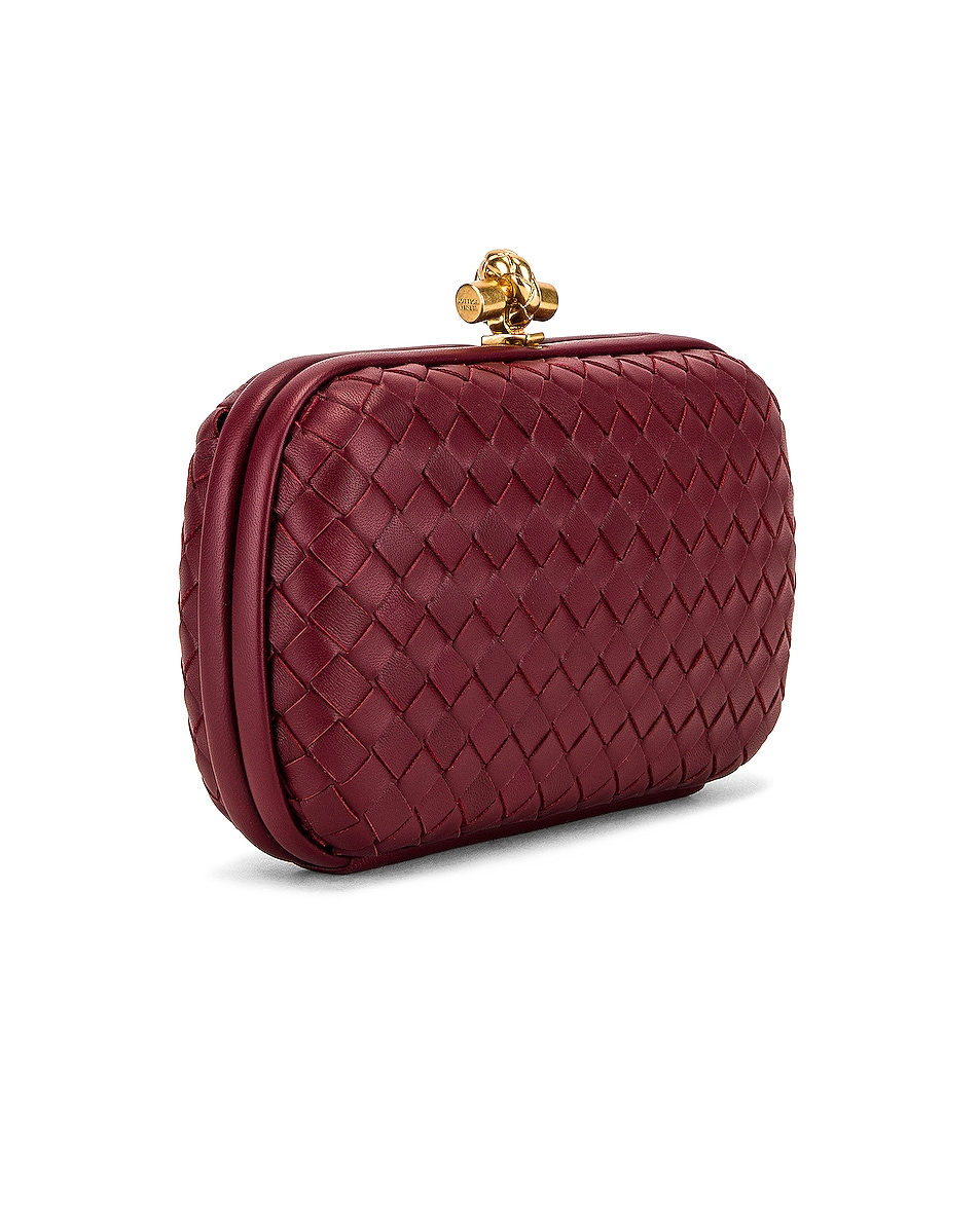 Image 4 of Bottega Veneta Woven Leather Crossbody Bag in Bordeaux & Gold
