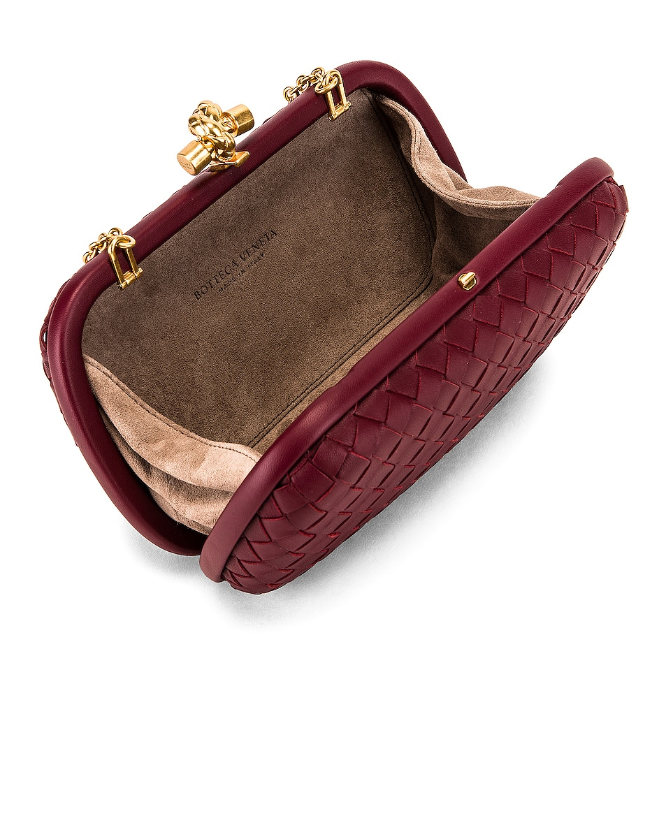 Image 5 of Bottega Veneta Woven Leather Crossbody Bag in Bordeaux & Gold