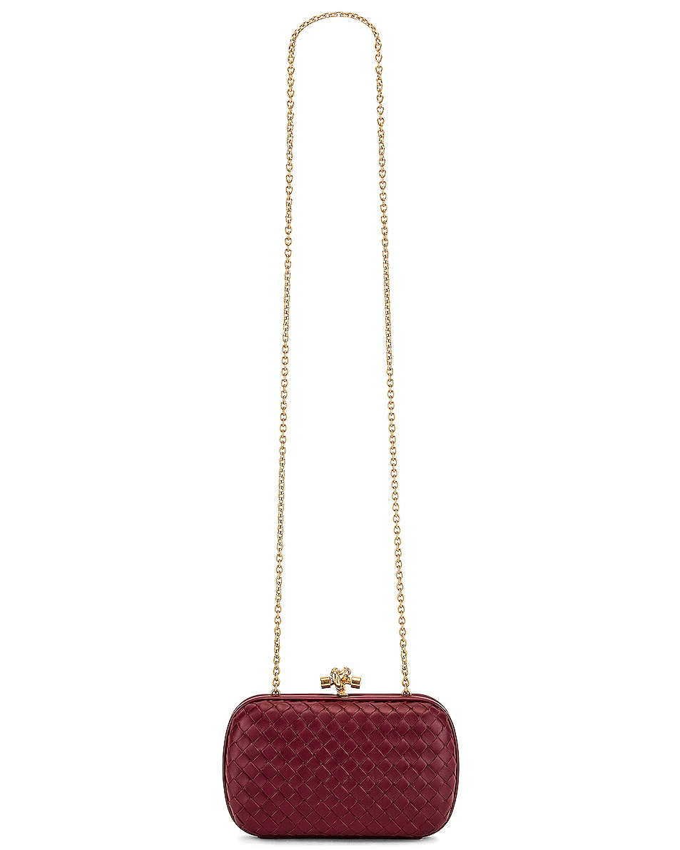 Image 6 of Bottega Veneta Woven Leather Crossbody Bag in Bordeaux & Gold
