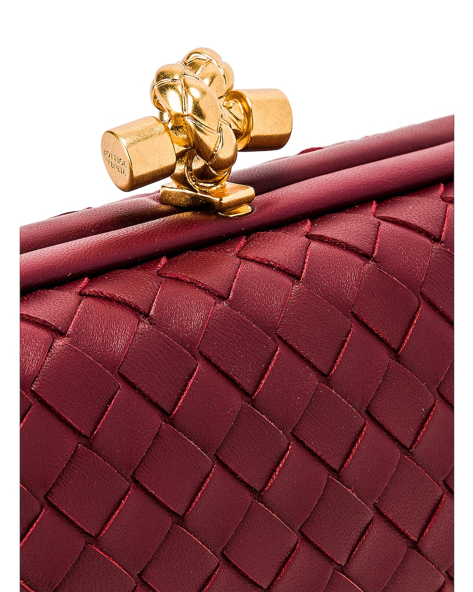 Image 8 of Bottega Veneta Woven Leather Crossbody Bag in Bordeaux & Gold