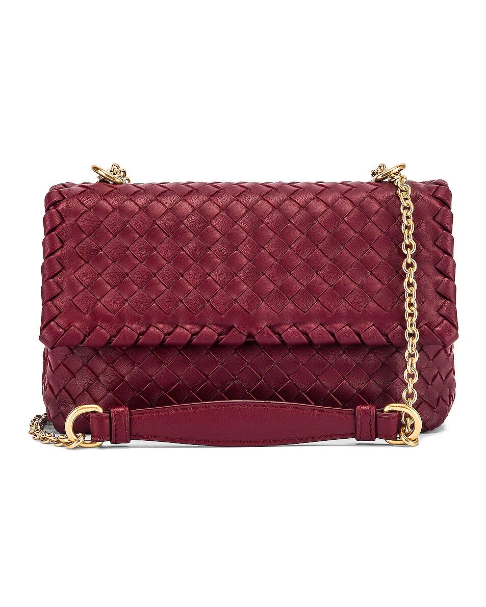 Image 1 of Bottega Veneta Woven Shoulder Bag in Bordeaux & Gold