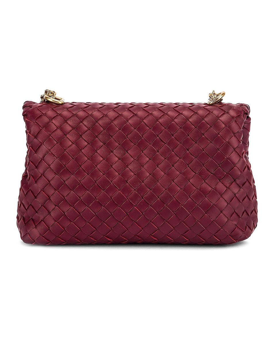 Image 3 of Bottega Veneta Woven Shoulder Bag in Bordeaux & Gold