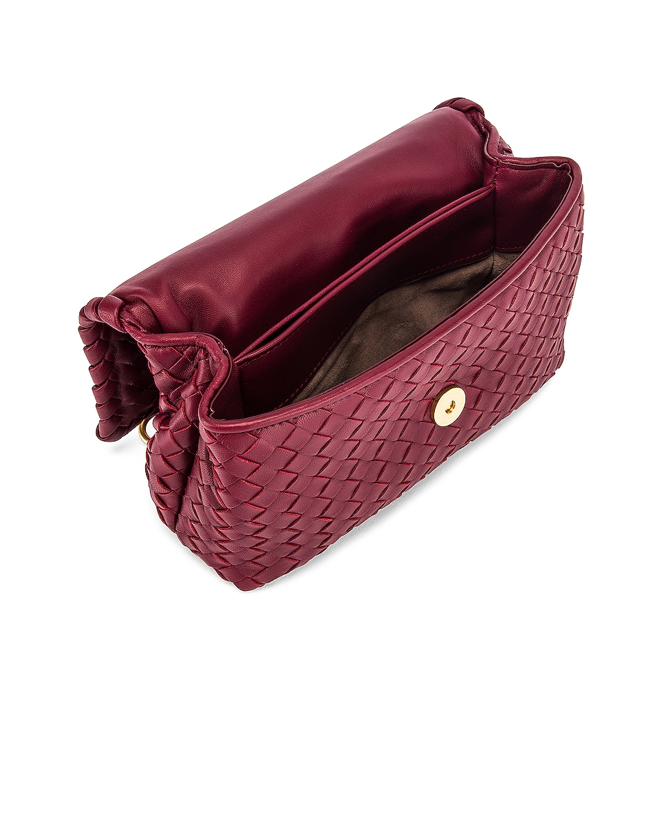 Image 5 of Bottega Veneta Woven Shoulder Bag in Bordeaux & Gold