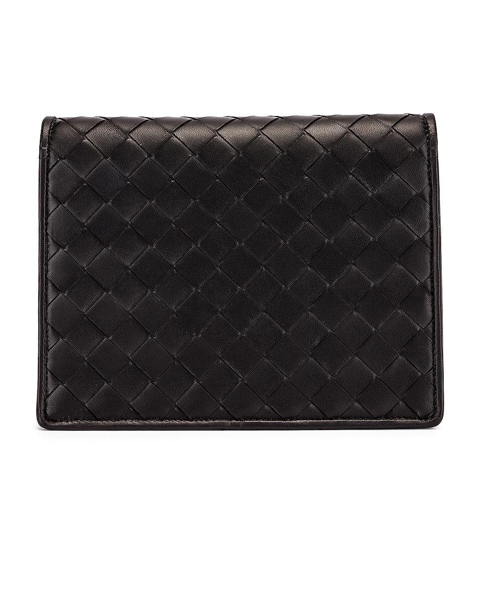 Image 3 of Bottega Veneta Woven Flap Leather Crossbody Bag in Black & Silver