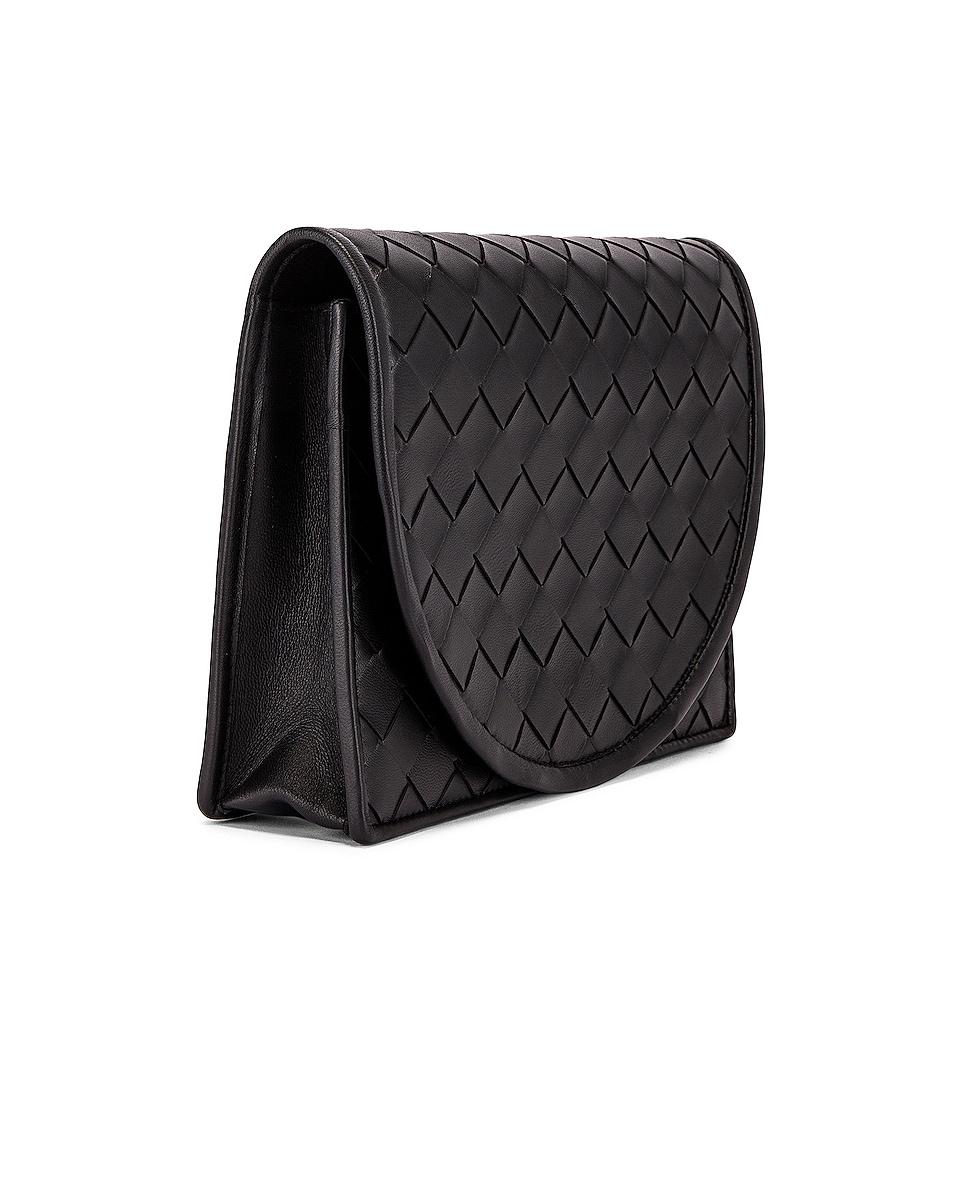 Image 4 of Bottega Veneta Woven Flap Leather Crossbody Bag in Black & Silver