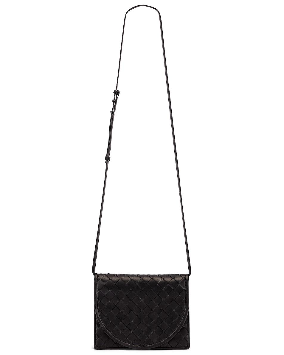 Image 6 of Bottega Veneta Woven Flap Leather Crossbody Bag in Black & Silver