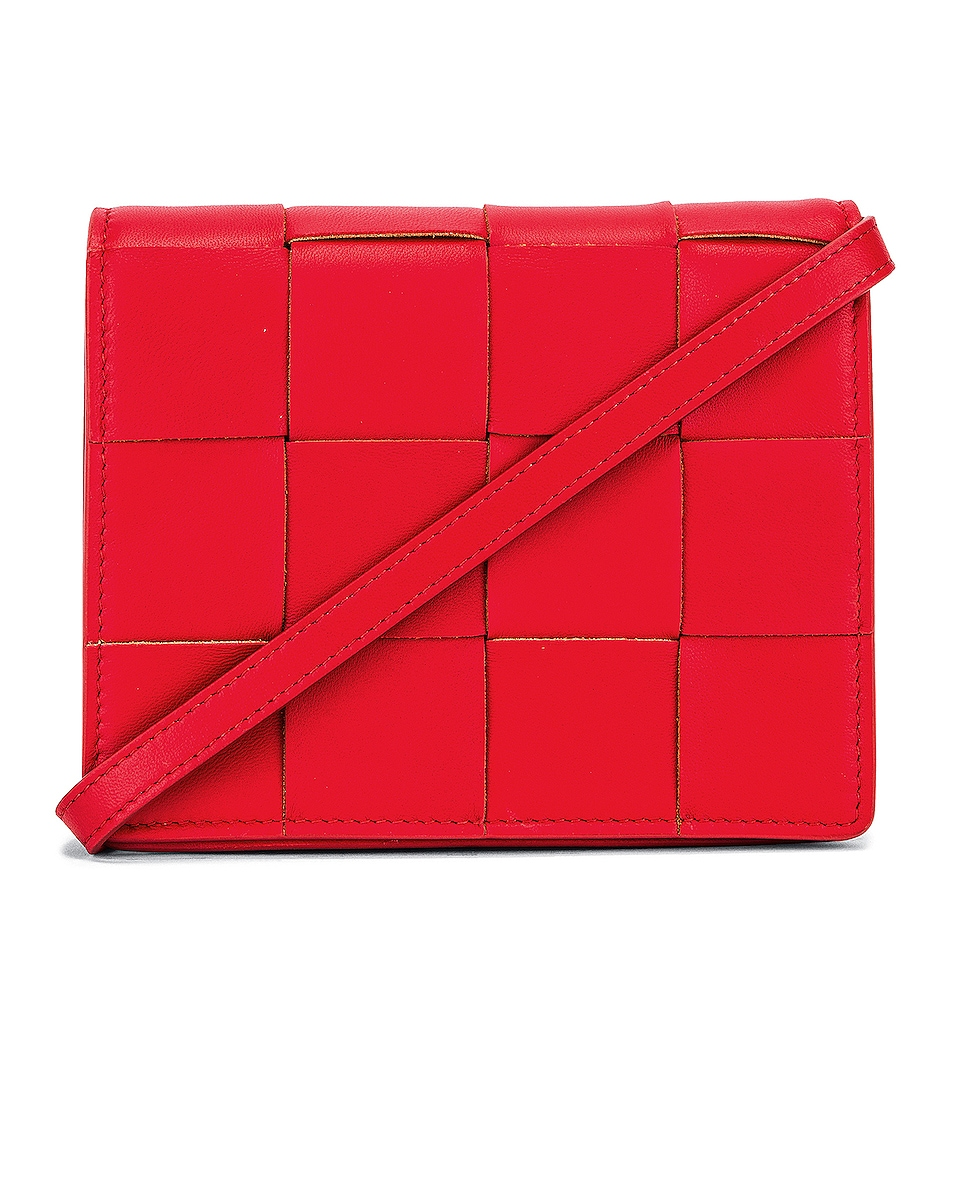 Image 1 of Bottega Veneta Woven Leather Crossbody Bag in Bright Red