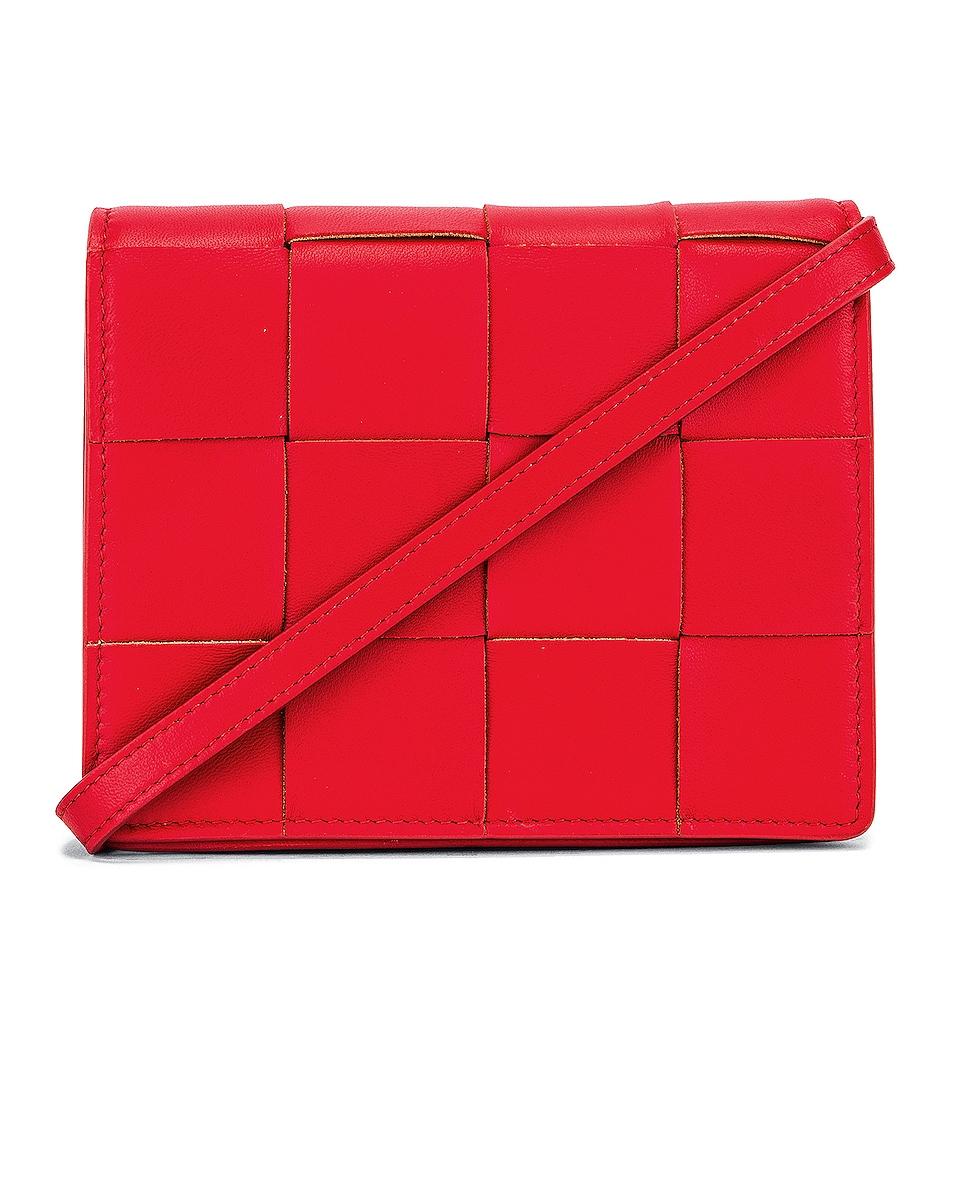 Image 1 of Bottega Veneta Woven Leather Crossbody Bag in Bright Red