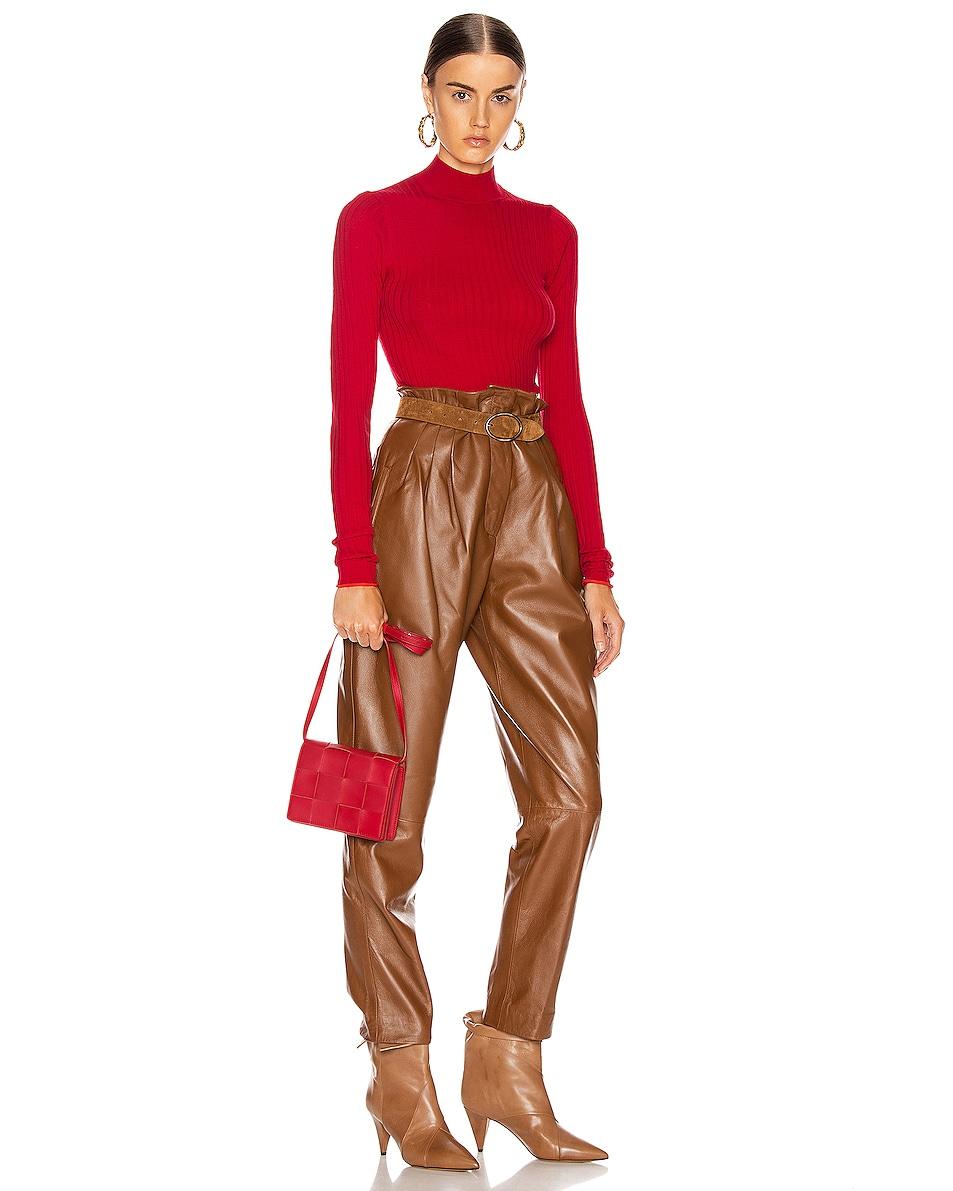 Image 2 of Bottega Veneta Woven Leather Crossbody Bag in Bright Red