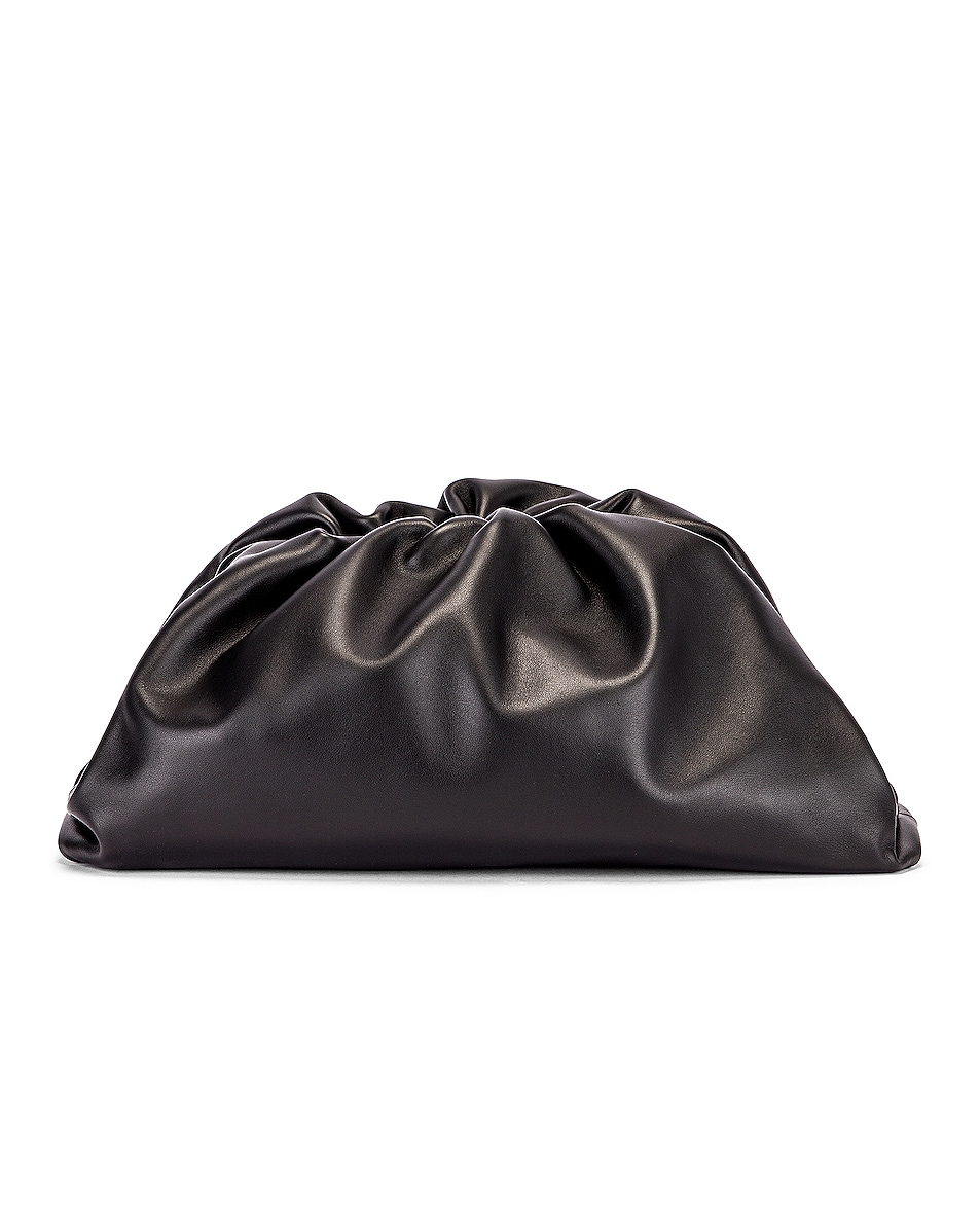 Image 1 of Bottega Veneta Butter Leather The Pouch Clutch in Black & Silver
