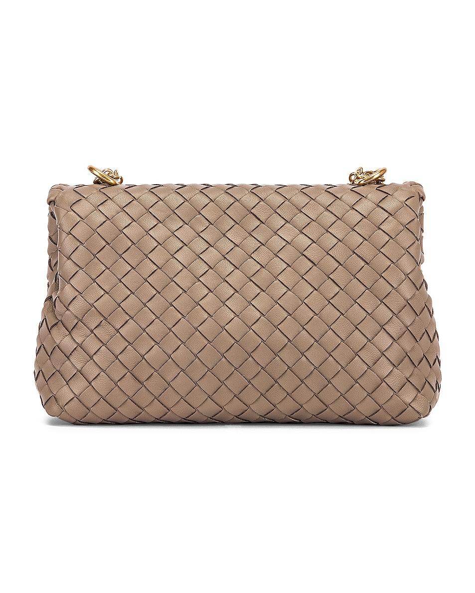 Image 3 of Bottega Veneta Woven Shoulder Bag in Limestone & Gold