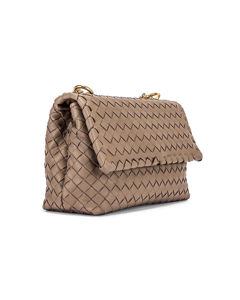 Image 4 of Bottega Veneta Woven Shoulder Bag in Limestone & Gold