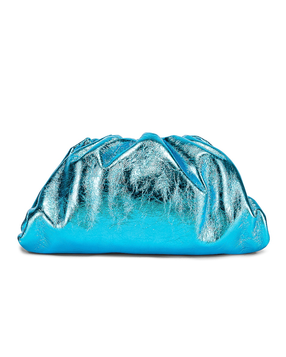 Image 1 of Bottega Veneta Wrinkled The Pouch Clutch in Sky Blue & Silver