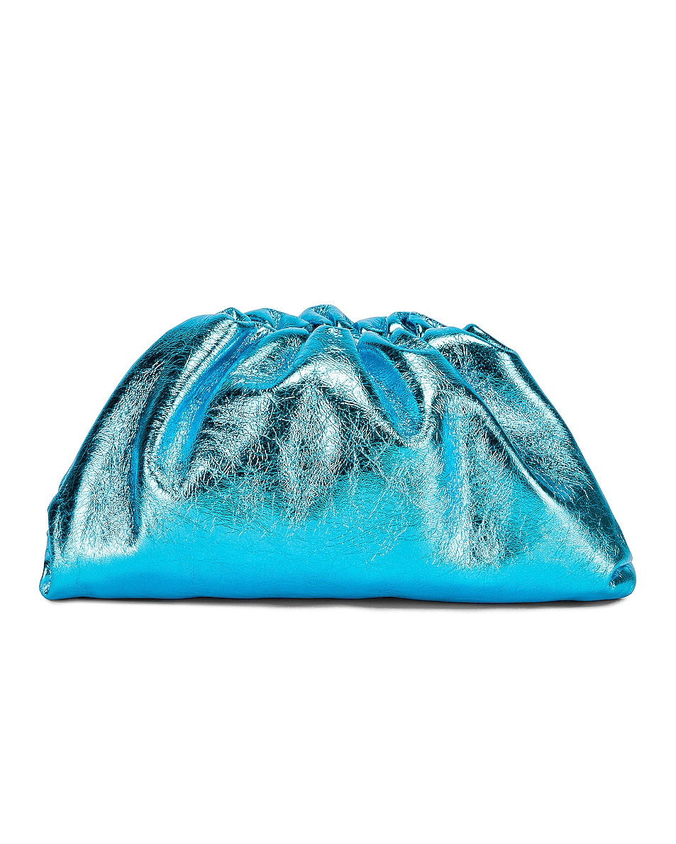 Image 3 of Bottega Veneta Wrinkled The Pouch Clutch in Sky Blue & Silver