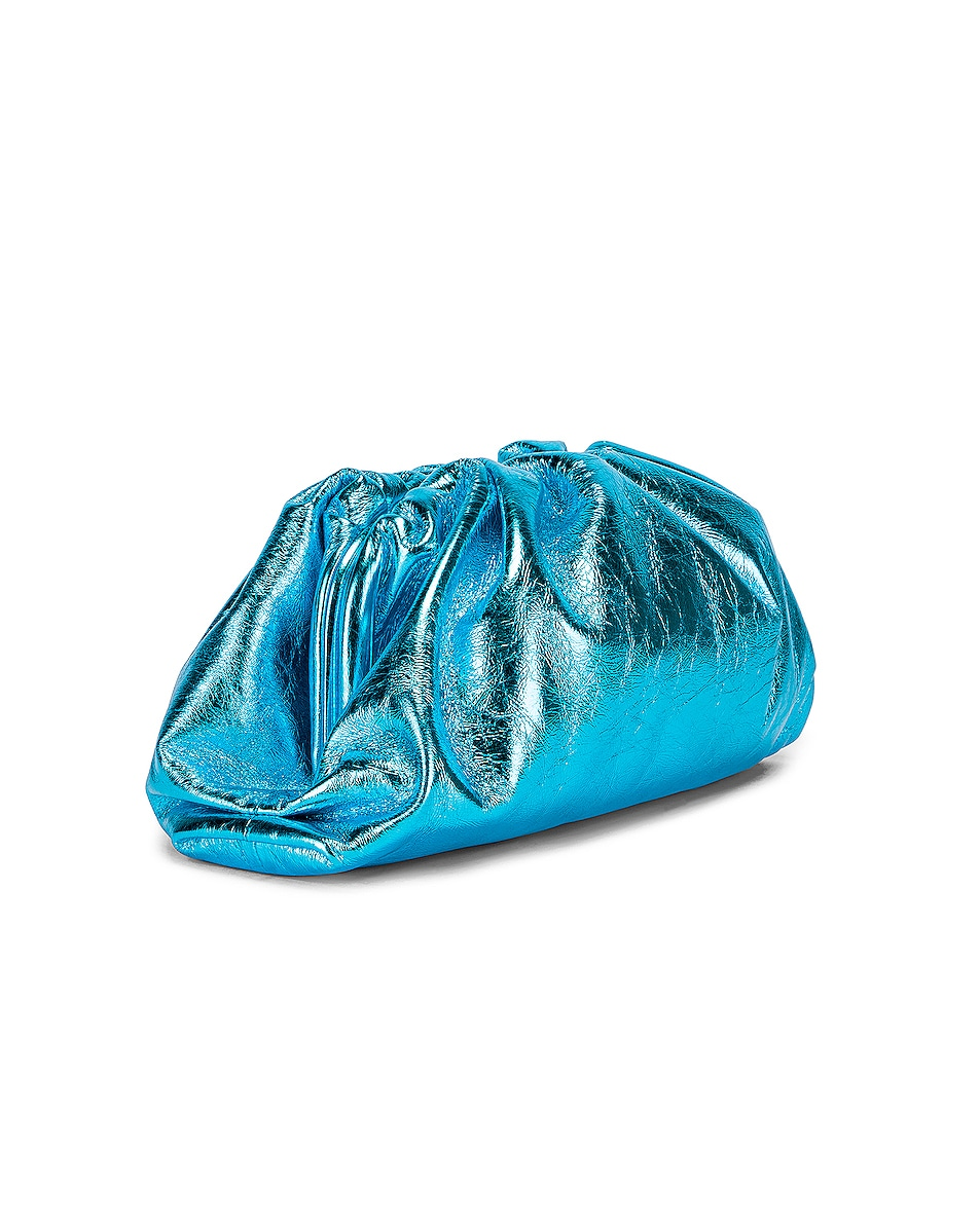 Image 4 of Bottega Veneta Wrinkled The Pouch Clutch in Sky Blue & Silver
