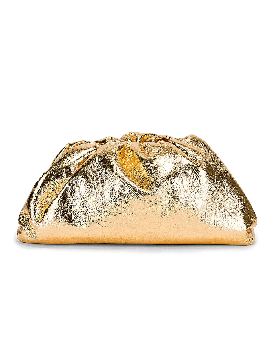 Image 1 of Bottega Veneta Wrinkled The Pouch Clutch in Gold
