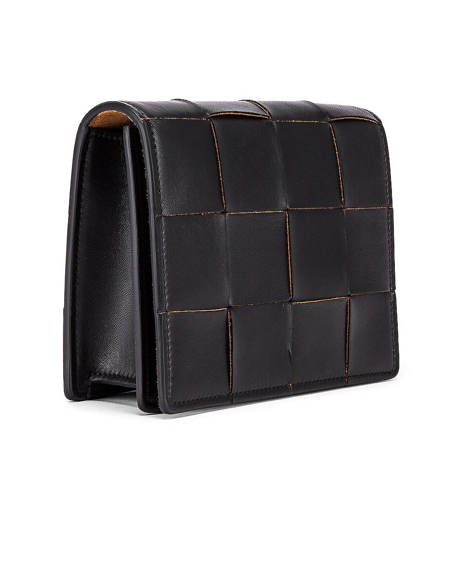 Image 4 of Bottega Veneta Woven Leather Crossbody Bag in Black & Silver