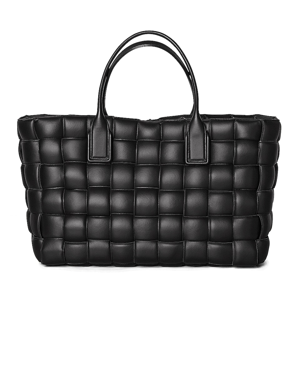 Image 1 of Bottega Veneta Woven Maxi Cabat Tote Bag in Black & Silver