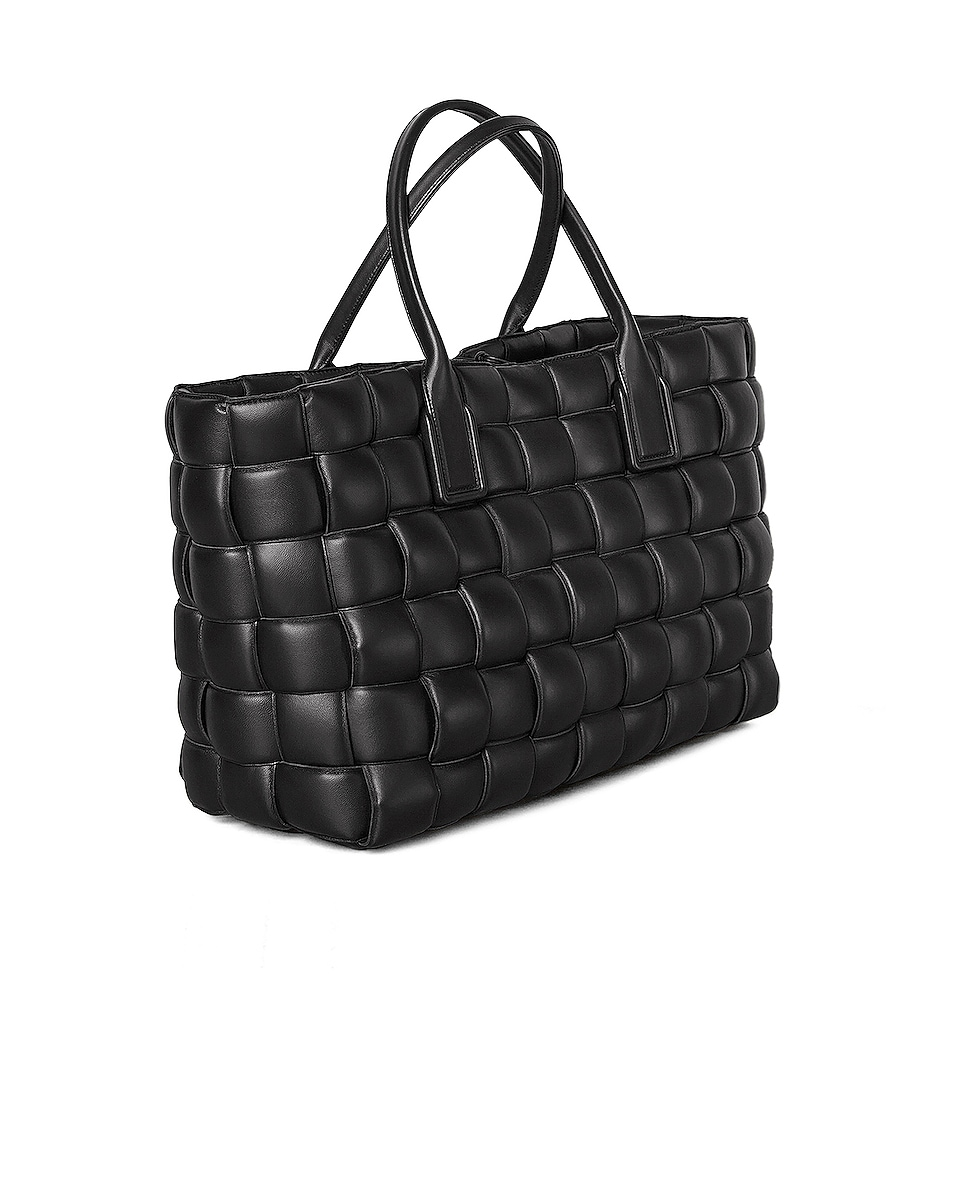 Image 3 of Bottega Veneta Woven Maxi Cabat Tote Bag in Black & Silver