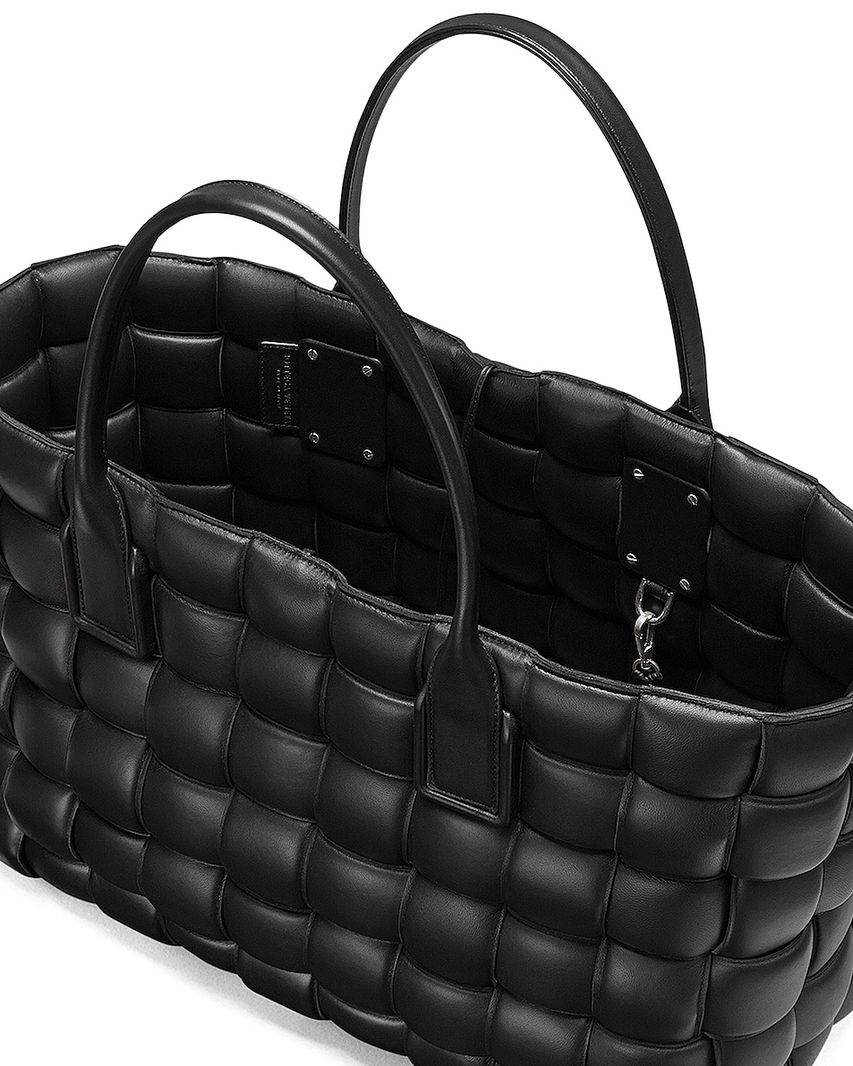 Image 4 of Bottega Veneta Woven Maxi Cabat Tote Bag in Black & Silver
