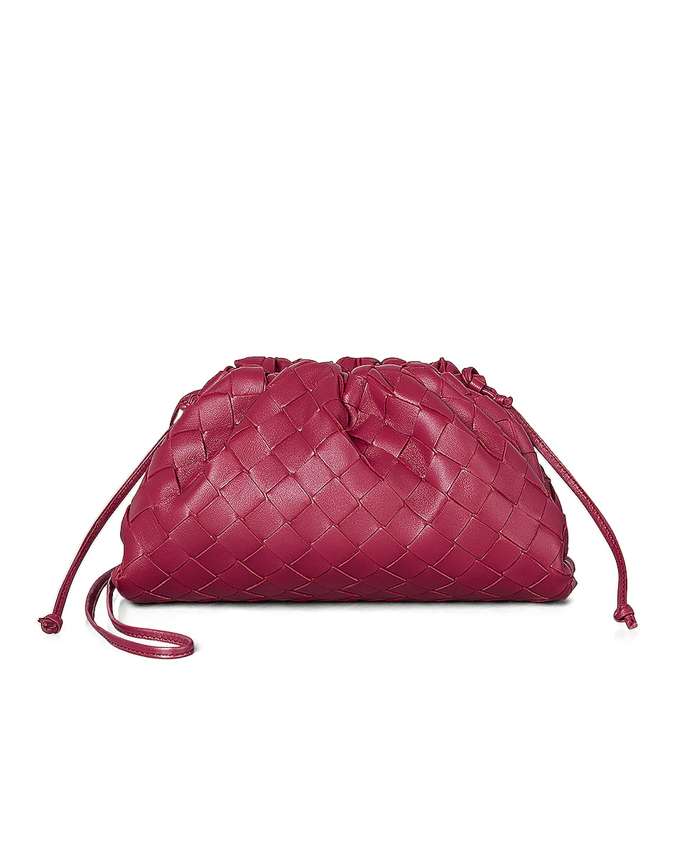 Image 1 of Bottega Veneta Leather The Pouch 20 Clutch Bag in Amaranto & Gold