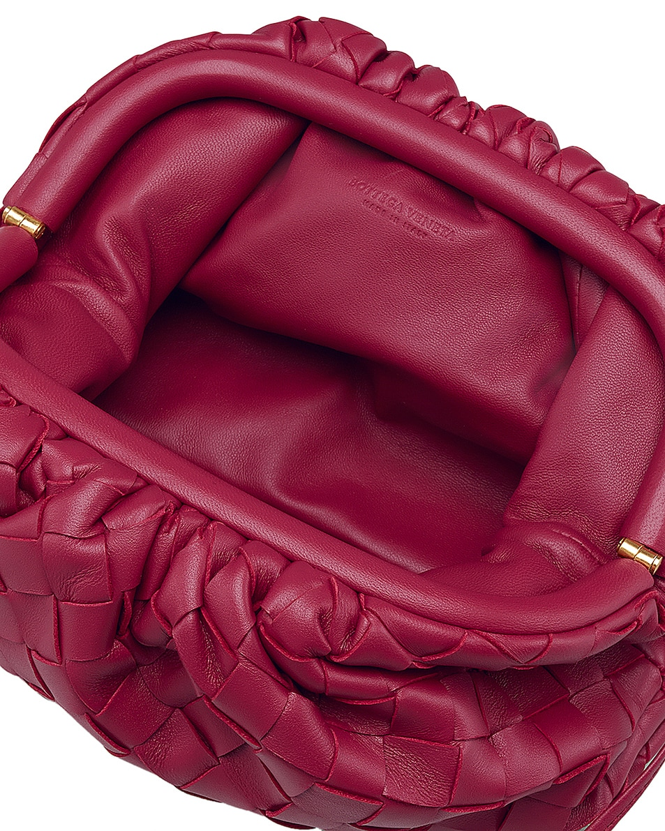 Image 3 of Bottega Veneta Leather The Pouch 20 Clutch Bag in Amaranto & Gold