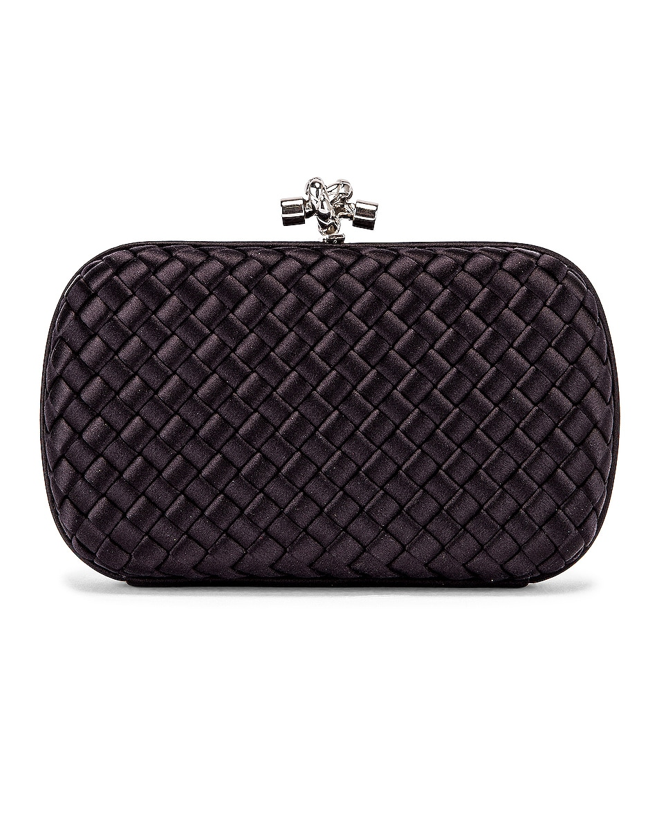 Image 1 of Bottega Veneta Woven Satin Crossbody Bag in Black & Silver