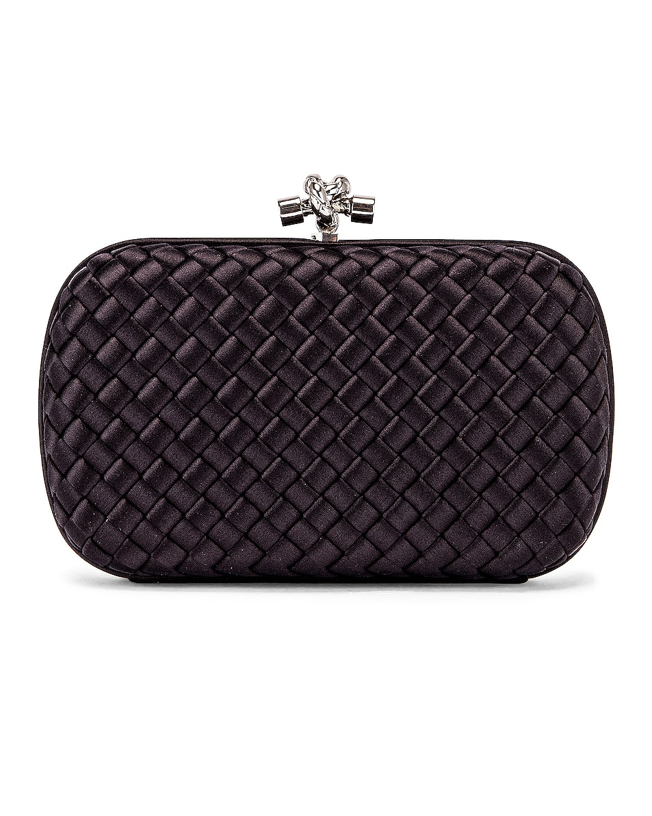 Image 3 of Bottega Veneta Woven Satin Crossbody Bag in Black & Silver
