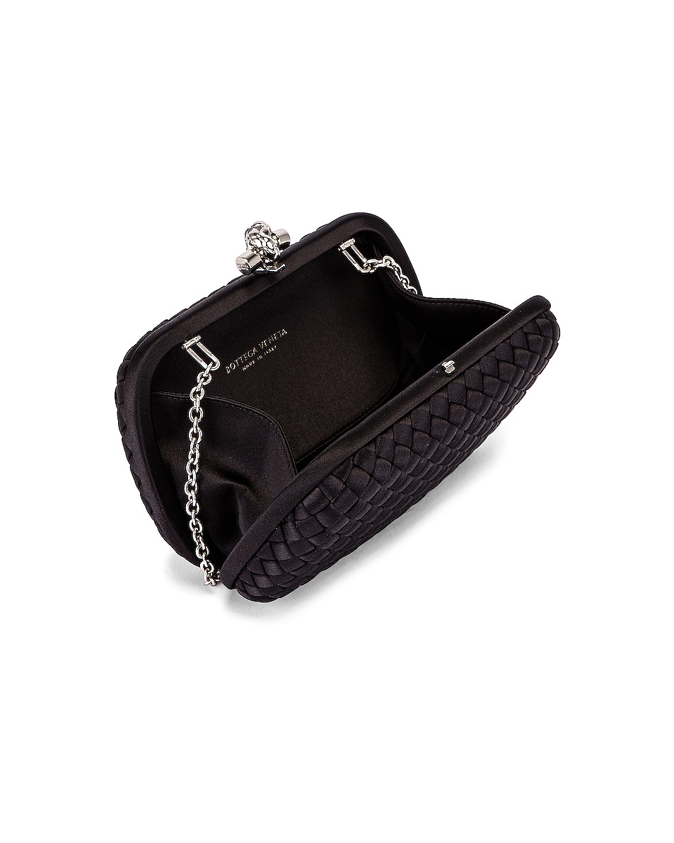 Image 5 of Bottega Veneta Woven Satin Crossbody Bag in Black & Silver