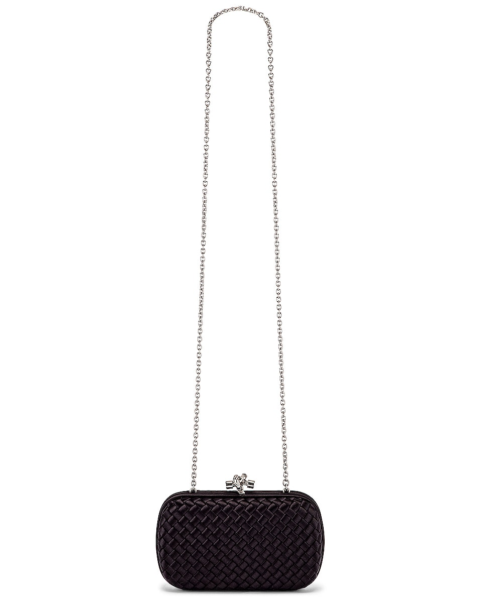 Image 6 of Bottega Veneta Woven Satin Crossbody Bag in Black & Silver