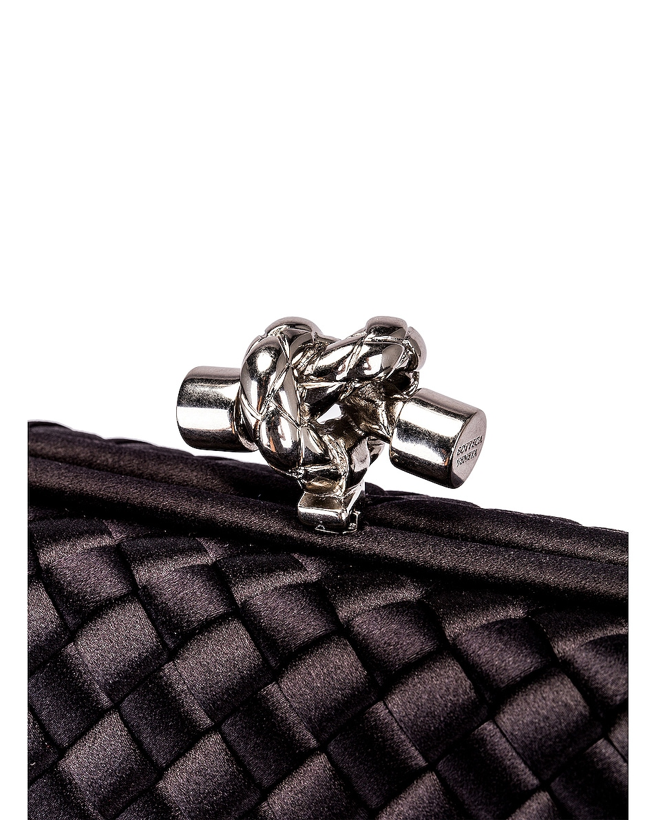 Image 8 of Bottega Veneta Woven Satin Crossbody Bag in Black & Silver