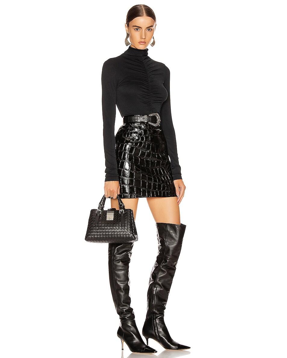 Image 2 of Bottega Veneta Woven Tote Crossbody Bag in Black & Silver