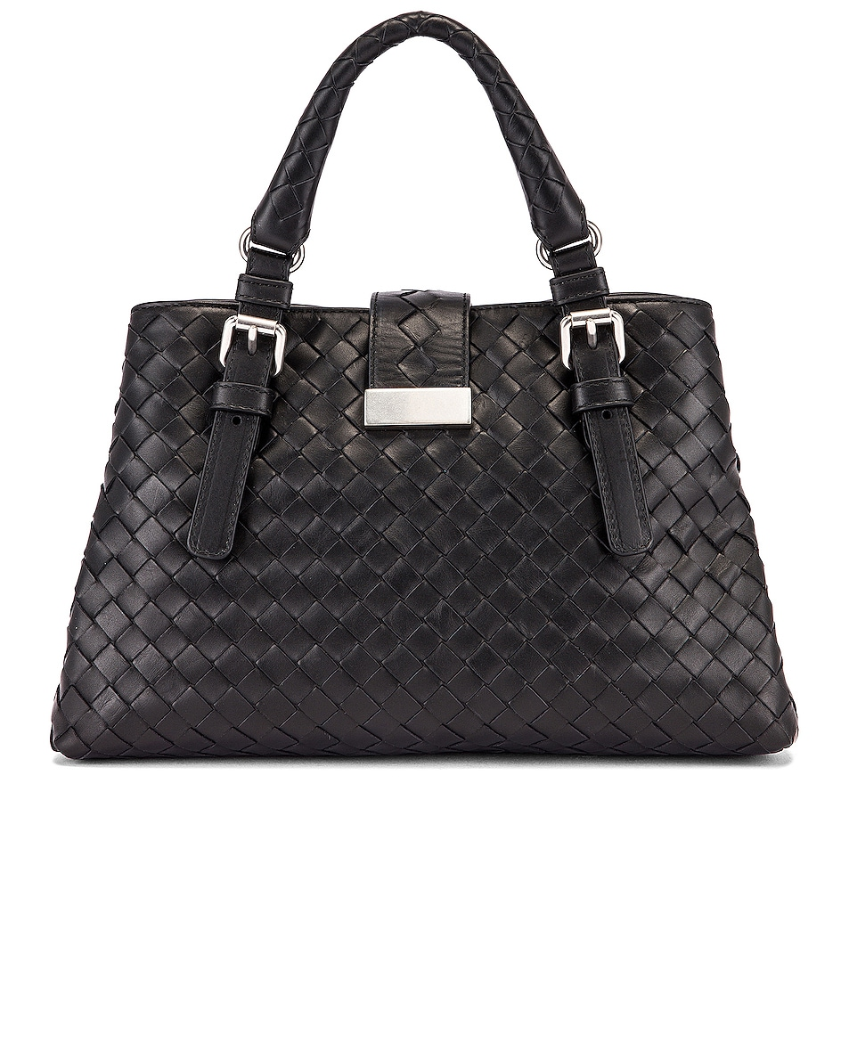 Image 3 of Bottega Veneta Woven Tote Crossbody Bag in Black & Silver