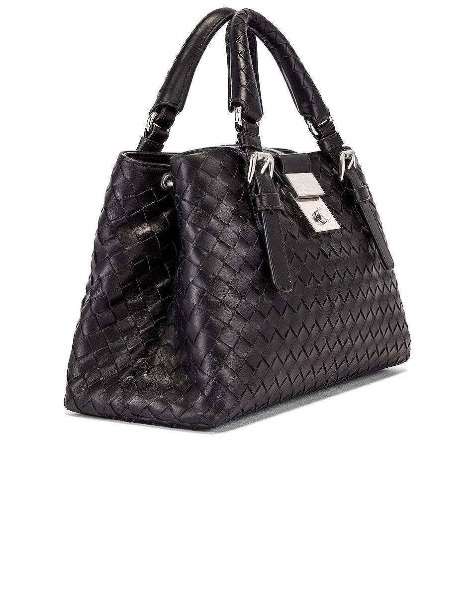 Image 4 of Bottega Veneta Woven Tote Crossbody Bag in Black & Silver