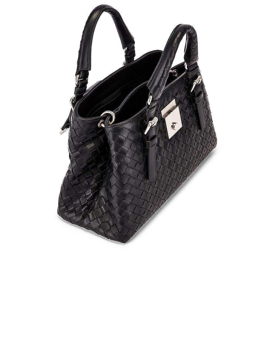 Image 5 of Bottega Veneta Woven Tote Crossbody Bag in Black & Silver