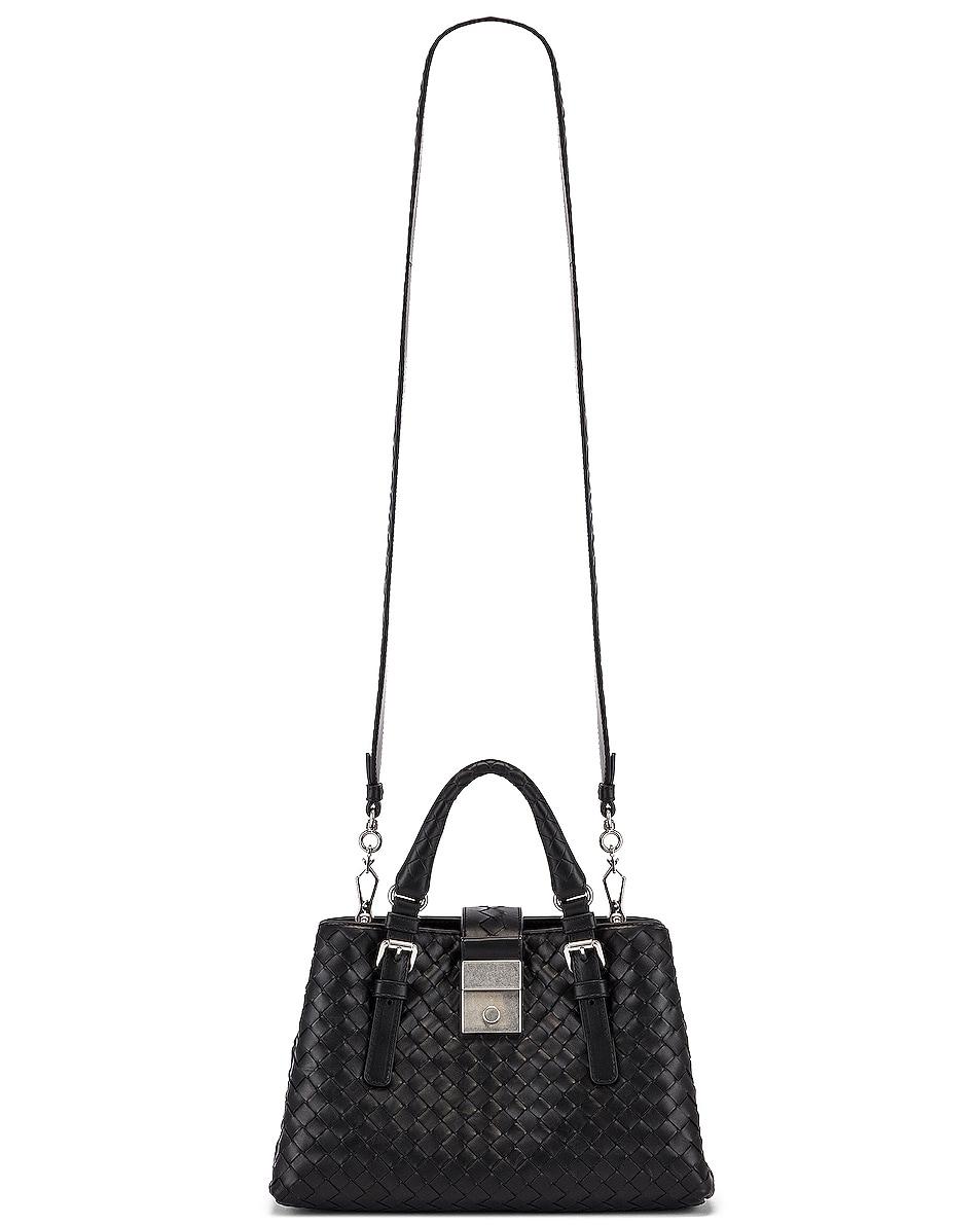 Image 6 of Bottega Veneta Woven Tote Crossbody Bag in Black & Silver