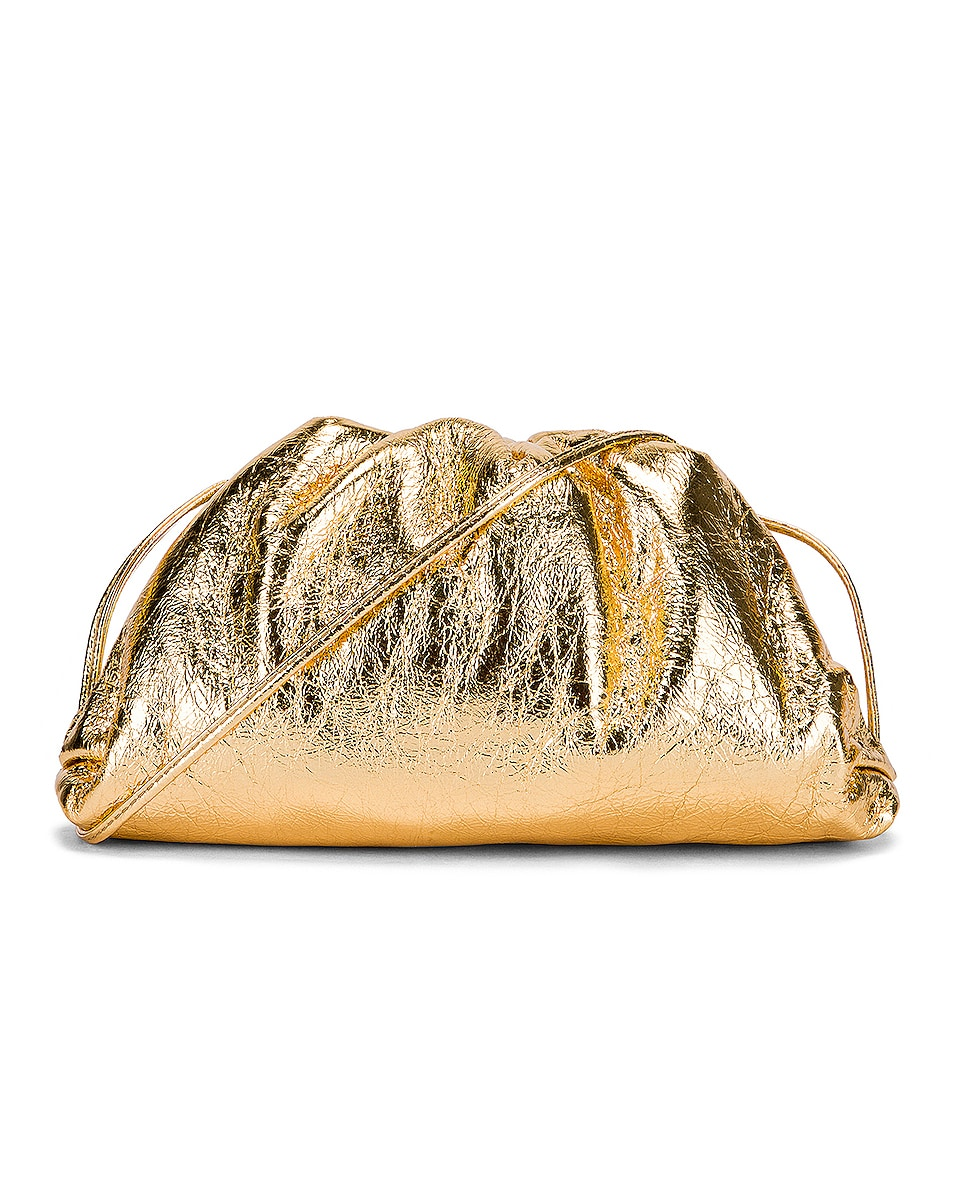 Image 1 of Bottega Veneta Wrinkled The Pouch 20 Clutch Bag in Gold