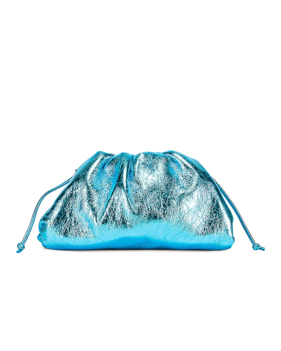 Image 2 of Bottega Veneta Wrinkled The Pouch 20 Clutch Bag in Sky Blue & Silver