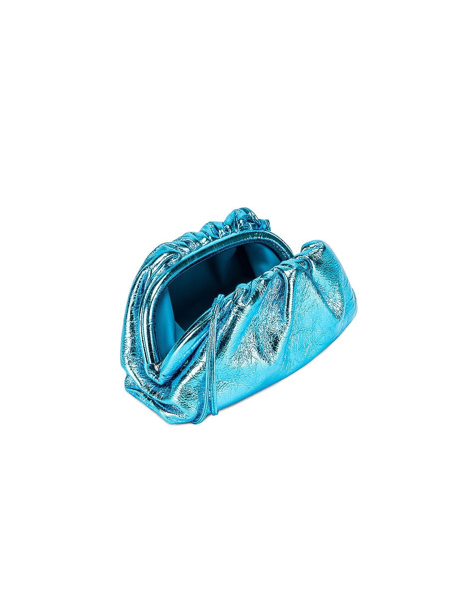 Image 4 of Bottega Veneta Wrinkled The Pouch 20 Clutch Bag in Sky Blue & Silver