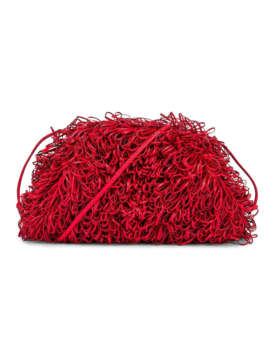 Image 1 of Bottega Veneta Sponge Pouch in Bright Red & Silver