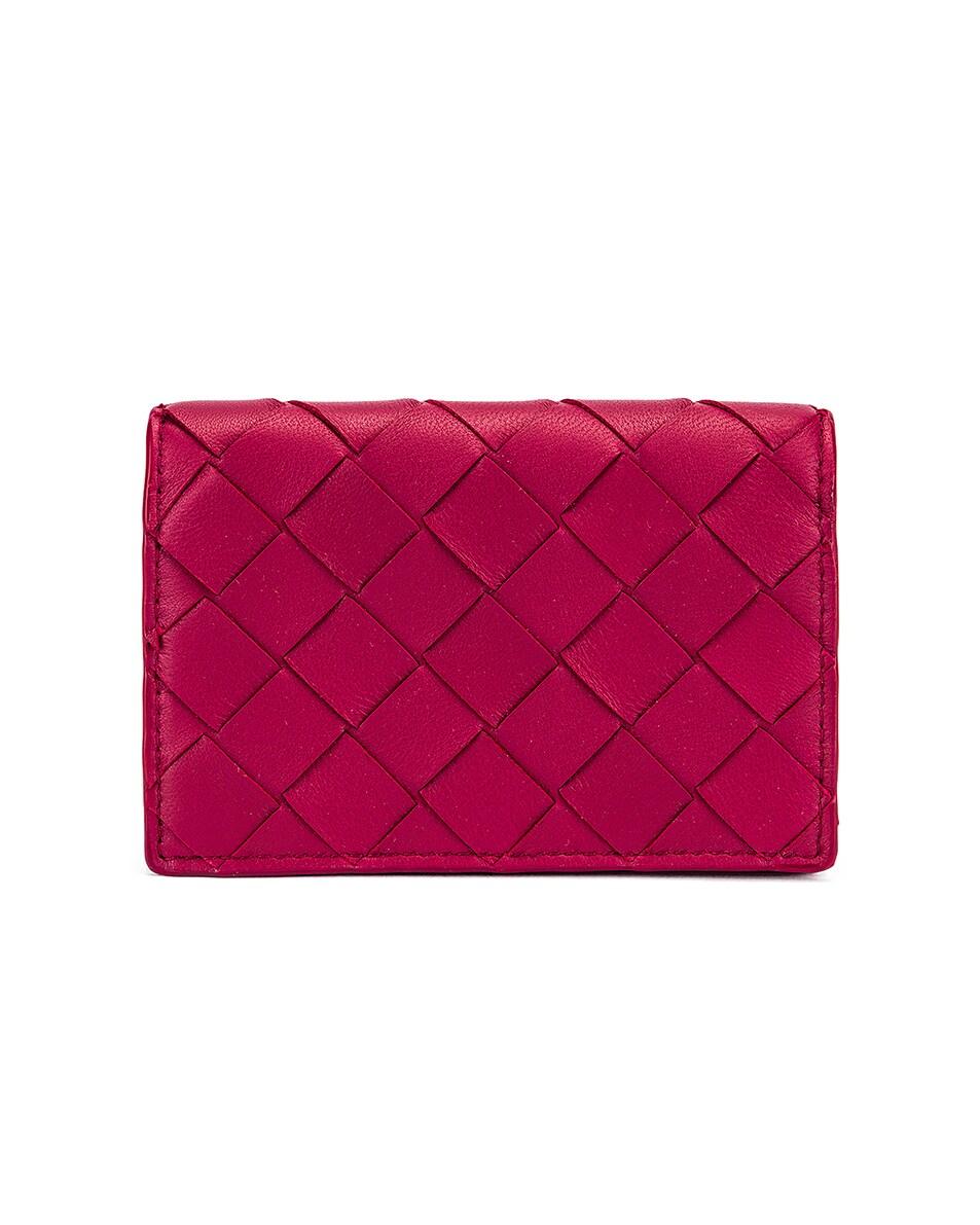 Image 1 of Bottega Veneta Woven Leather Card Case in Amaranto