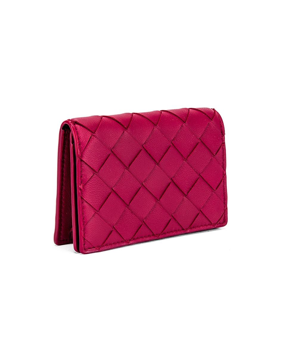Image 3 of Bottega Veneta Woven Leather Card Case in Amaranto